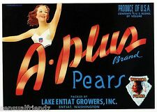 A Plus Pears Fruit Crate Label Art Print Vintage Athletic Sexy Glamour Girl