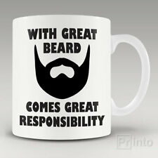 Funny coffee mug cup WITH GREAT BEARD COMES GREAT RESPONSIBILITY + Free gift box