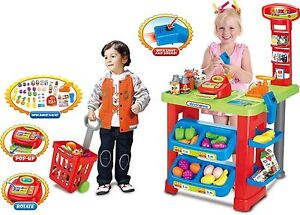 Childrens Kids SUPERMARKET Shop Role Play Cash Till Play Food Toy Trolley 6180