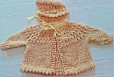 Hand Knitted Unisex 2 pc. Yellow Baby Sweater and Bonnet set. Newborn to 3mo.