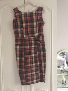 Collectif Hepburn Check Dress Size 14