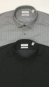 Calvin Klein Men's Slim Fit Stretch Wrinkle Free 2 Pack Dress Shirt Set