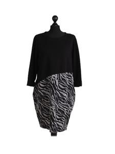 New Womens Italian Long Sleeve Zebra Print Lagenlook Cotton Tunic Top Dress Plus
