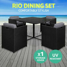 5PCS Outdoor Dining Set Wicker Furniture Rattan Garden Table Chairs Cushions New