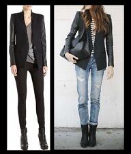 HELMUT LANG Crux Wool Blazer Womens 2 Black Leather Sleeve Jacket Coat Career XS