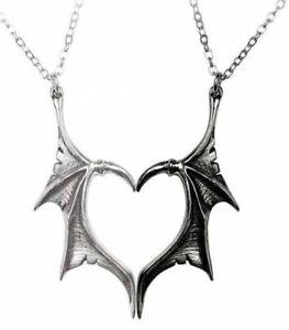 Alchemy England - Darkling Heart Friendship Pendants Dragon Wings, Pagan, Gothic