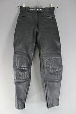 ASHMAN BLACK COWHIDE LEATHER BIKER TROUSERS SIZE 10 - WAIST 26IN/INSIDE LEG 27IN