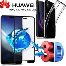 COVER per Huawei P20/Lite/Pro CUSTODIA TPU + PELLICOLA VETRO TEMPERATO 4D CURVO