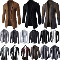 Men Winter Casual Long Cardigan Trench Coat Jacket Slim Sweater Outwear Suit Top