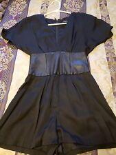 Bebe Black Satin Kimono Romper Leather Waist XXS