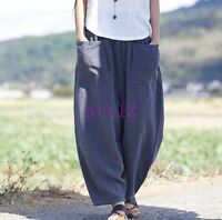 Womens Baggy Linen Cotton Leisure Harem Pants Bloomers Pockets Loose Trousers