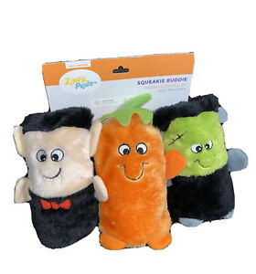ZippyPaws - Halloween Dracula, Pumpkin & Frankenstein Squeakie Buddies Dog Toy