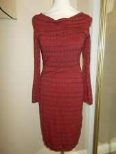 BODEN Red Black Fitted Pencil Midi Striped Dress 8 Cowl Neck Geometric WORN ONCE