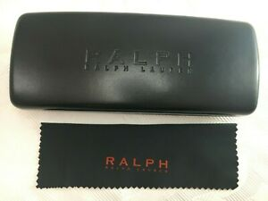 RALPH LAUREN Eyeglasses Sunglasses Shades Hard Black Clam Case Snap Closure