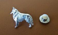 Sterling Silver Belgian Tervuren / Belgian Sheepdog Standing Study Lapel Pin