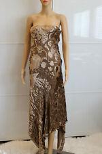 Donna Karan New York Runway Richly Textured Velvet Dress in Olive Brown