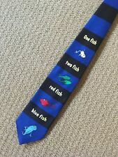 Dr Seuss Novelty Necktie One Fish Two Fish Red Fish Blue Fish Black Blue Stripe
