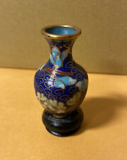 Vintage Miniature Brass Vase With Blue And Floral Cloissone Enamel Wood Base