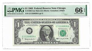 "1963 $1 CHICAGO """" MULE """" FRN, PMG GEM UNCIRCULATED 66 EPQ BANKNOTE"