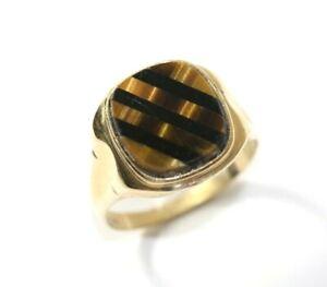Vintage 10K YELLOW GOLD, ONYX, TIGERS EYE Mens Ring: SIZE 14, 5 Grams