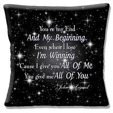 John Legend Song Cushion Cover 16x16 inch 40cm All of Me Love Wedding Lyrics