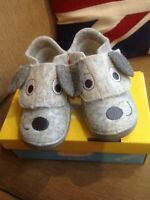Befado-Kids Grey Puppy Dog Soft Wool Felt Slipper - Non-Slip, Velkro, size 22/ 5