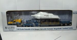 DCP Diecast Promotions Peterbilt 379 Sleeper Fontaine Magnitude Lowbed w/ Boat