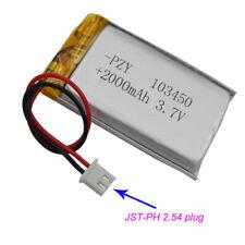 Polymer Li Lithium cell 3.7V 2000 mAh for Mp4 Tablet PC 103450 JST-PH 2.54 plug