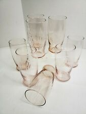 Set of 8 Two Tone Pink Twisted Glass Tumblers 12 oz
