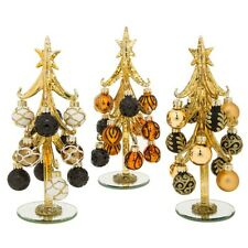 Deco Glass Christmas Tree and Baubles 21cm Decoration Home Xmas Ornament Gold