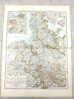 1895 Map of Germany Hanover Schleswig Holstein Prussia Antique 19th Century