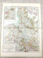 1895 Mappa Di Germania Hanover Schleswig-Holstein Prussia Antico 19th Secolo
