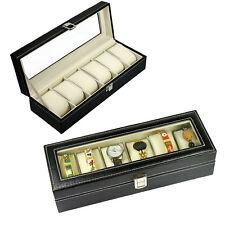 6 Slot Watch Bracelet Leather Display Organizer Glass Top Jewelry Box Storage