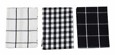 3x cuadros Vichy Negro Blanco 100% algodón paños de cocina