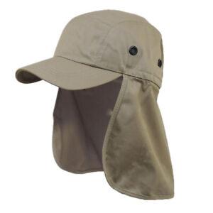 Foreign Legion BDU Cadet Long Neck Flap Hat Military Flat Top Brown Khaki