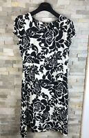 Phase Eight Ladies Size 14 Black White Floral Dress