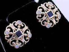 E075 Genuine 9ct Yellow Gold NATURAL Sapphire & Diamond Fleur-de-lis Earrings