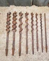Lot 8 Vintage Brace Drill Auger Bits Square Drive Woodworking