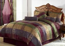 Luxury 7 PCS Multi Colored Jacquard Patchwork Comforter Set/Bed-in-a-bag New.