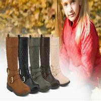 Girl's Kid's Cute Zipper Flat Heel Mid Calf Slouchy Boot Shoes Size 8 - 6 NEW