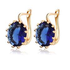 Shiny Statement Dark Blue Sapphire Ladies Hoops September Birthstone Gift E1141