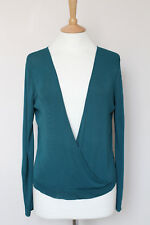 HERMES Blu Teal Wrap V-Neck Stretch Knit Maglione Pullover Blusa Top SM Small S