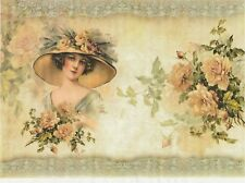 Rice Paper for Decoupage Decopatch Scrapbook Craft Sheet Lady & Orange Roses