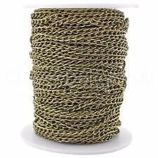 Curb Chain Spool - 100 Feet - Antique Bronze - 3x5mm Link - Bulk Roll