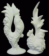 Ceramic Bisque RARE Elegant Rooster and Hen Set  * Ready to Paint Pottery