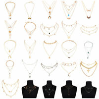 Fashion Gold Silver Plated Women Necklace Multi-layer Chain Choker Necklace Hot