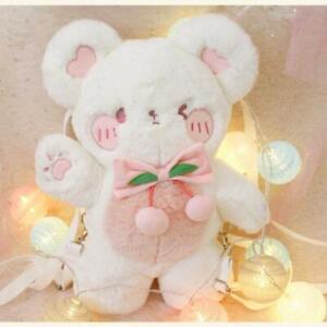 Lolita Girl's Angel Wing Cherry Bear Plush Backpack Animal Doll Shoulder Bag