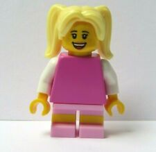 LEGO Female Girl Minifigure Pink Outfit Blonde Ponytail Hair Reversible Head