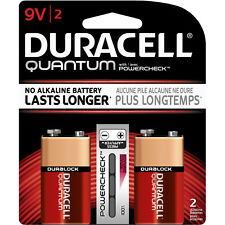 NEW- DURACELL QUANTUM 9V 9 VOLT BATTERIES-(2 PACK)-SUPERIOR LIFE-(DEC 2020)