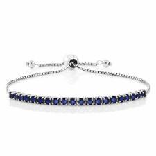 OPENBOX 2.50 Cttw Blue Sapphire 925 Sterling Silver Fully Adjustable Bracelet